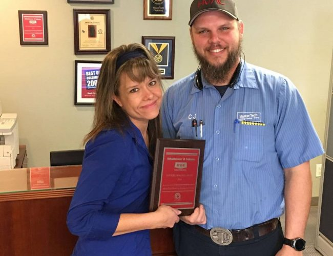 columbia plumber, columbia air conditioner, columbia hvac, cj roe and rachael plaggenberg, comfort products distributing, bryant heating cooling systems