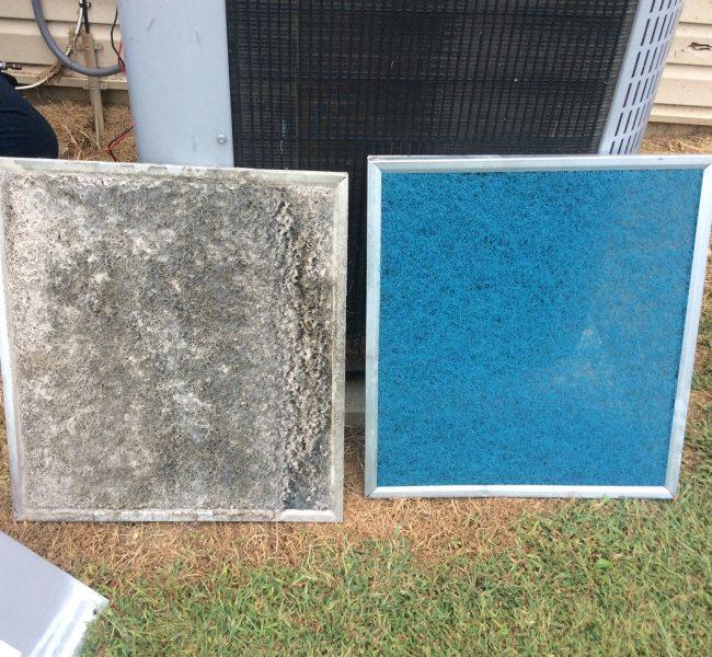 Dirty vs Clean HVAC System Filter